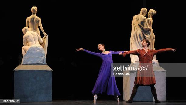 Fumi Kaneko as Hermione and Lukas Bjorneboe Braendsrod as Polixenes in the Royal Ballet's production of Christopher Wheeldon's The Winter's Tale at...