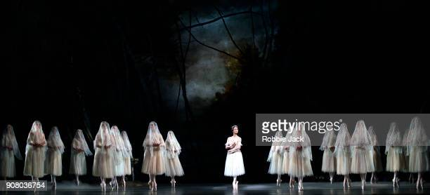 Fumi Kaneko as Queen of the Wilis with artists of the company in the Royal Ballet's production of Peter Wright's adaptation of Marius Petipa's...