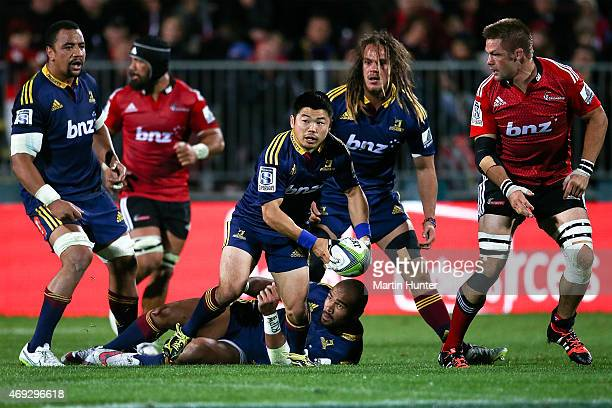 Fumiaki Tanaka of the Highlanders looks to pass from a ruck during the round nine Super Rugby match between the Crusaders and the Highlanders at AMI...