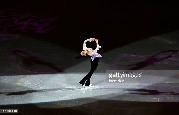 Fumie Suguri of Japan spins in the Exhibition Gala during the ISU World Figure Skating Championships at the Pengrowth Saddledome on March 26 2006 in...