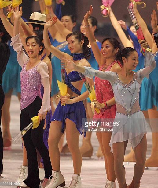 Fumie Suguri Shizuka Arakawa Miki Ando and Yukari Nakano wave to the fan after the gala exhibition during the 74th All Japan Figure Skating...