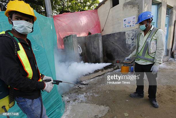 Fumigation in progress after Delhi Lieutenant Governor Najeeb Jung visited Delhi Metro construction sites at Delhi Gate to inspect measures taken by...