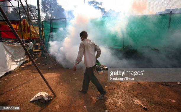 Fumigation takes place during the sanitization of Shivaji Park area a day after lakhs of followers gathered on Dr Babasaheb Ambedkar's 55th Death...
