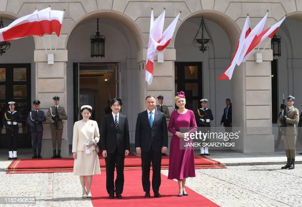 Fumihito, Crown Prince Akishino of Japan , and his wife Crown Princess Kiko of Japan , attend a welcoming ceremony with Polish President Andrzej Duda...