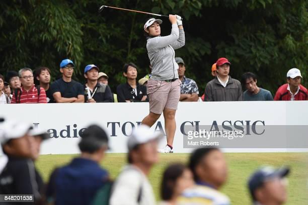 Fumika Kawagishi of Japan hits her tee shot on the 16th hole during the final round of the Munsingwear Ladies Tokai Classic 2017 at the Shin Minami...