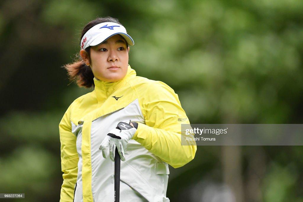 Fumika Kawagishi of Japan looks on during the second round of the Nipponham Ladies Classic at the Ambix Hakodate Club on July 7, 2018 in Hokuto, Hokkaido, Japan.
