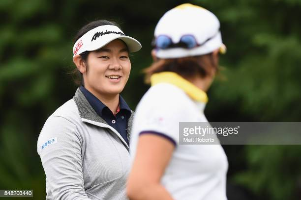 Fumika Kawagishi of Japan shares a laugh with Misuzu Narita of Japan during the final round of the Munsingwear Ladies Tokai Classic 2017 at the Shin...