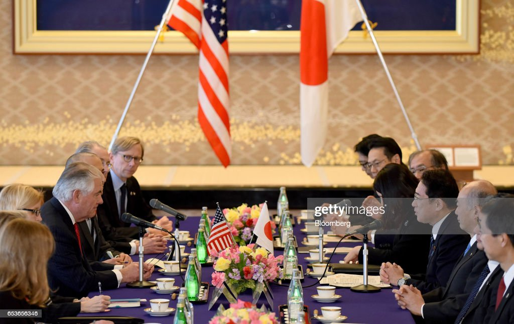 US Secretary of State Rex Tillerson Meets Japanese Foreign Minister Fumio Kishida During His First Tour in Asia : News Photo