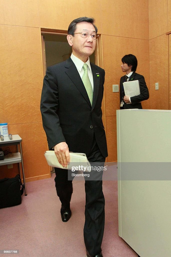 Fumio Otsubo, president of Panasonic Corp., arrives for a news conference in Hirakata City, Osaka, Japan, on Friday, Jan.8, 2010. Panasonic Corp., the world's largest maker of plasma televisions, said it aims to increase its operating profit margin to at least 10 percent by the year ending March 2019. Photographer: Tetsuya Yamada/Bloomberg via Getty Images