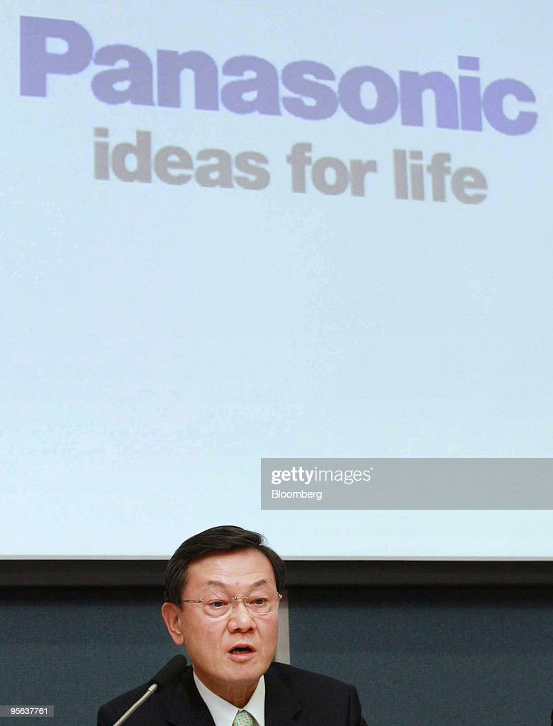 Fumio Otsubo, president of Panasonic Corp., speaks during a news conference in Hirakata City, Osaka, Japan, on Friday, Jan.8, 2010. Panasonic Corp., the world's largest maker of plasma televisions, said it aims to increase its operating profit margin to at least 10 percent by the year ending March 2019. Photographer: Tetsuya Yamada/Bloomberg via Getty Images