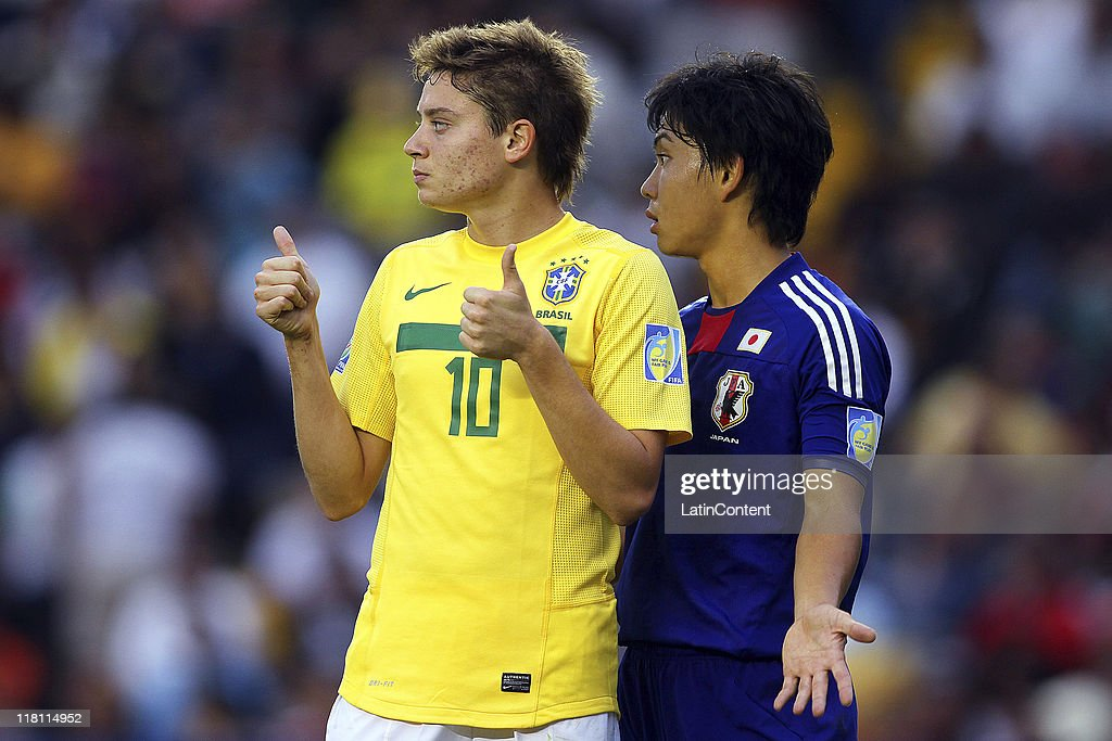 Fumiya Hayakawa (R) of Japan and Adryan Tavares (L) of Brazil during the FIFA U17 World Cup Mexico 2011 Quarter Final match between Japan and Brazil at the La Corregidora Stadium on July 03, 2011 in Queretaro, Mexico.