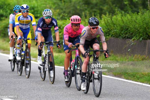 Fumiyuki Beppu of Japan and Team EF Education - Nippo & Jesper Hansen of Denmark and Riwal Cycling Team in the Breakaway during the 42nd Tour de...
