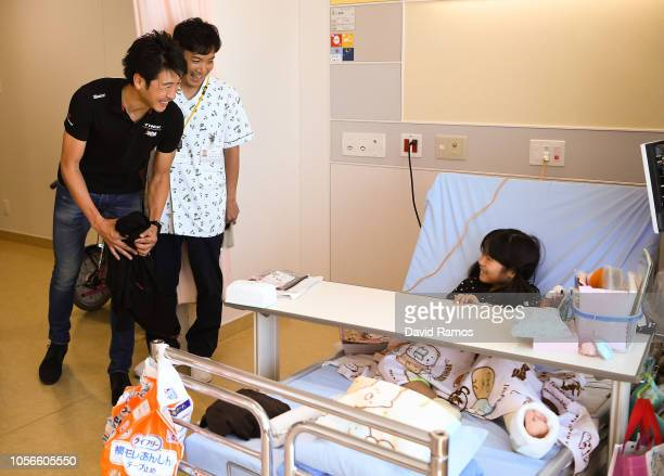 Fumiyuki Beppu of Japan and Tour De France Japan Team visiting Saitama Children's Medical Center during the 6th Tour de France Saitama Criterium 2018...