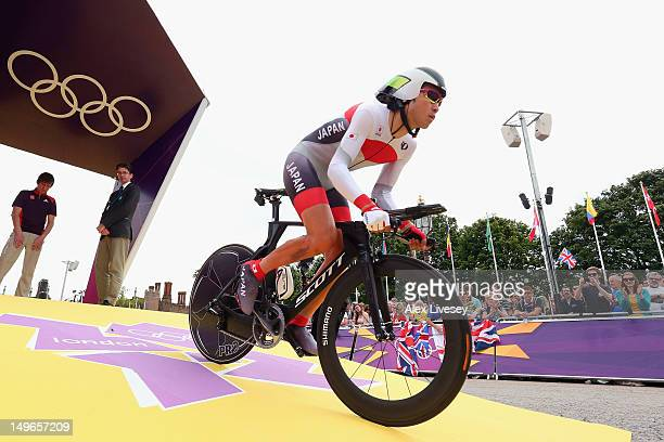 Fumiyuki Beppu of Japan in action during the Men's Individual Time Trial Road Cycling on day 5 of the London 2012 Olympic Games on August 1 2012 in...