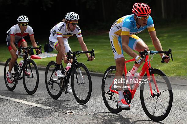 Fumiyuki Beppu of Japan Rigoberto Uran Uran of Colombia and Andriy Grivko of Ukraine ride in a paceline during the Men's Road Race Road Cycling on...