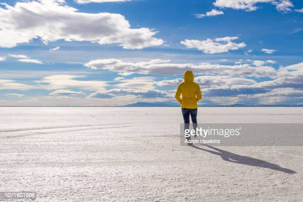fun and deep thinking on the bonneville salt flats - bonneville salt flats stock pictures, royalty-free photos & images