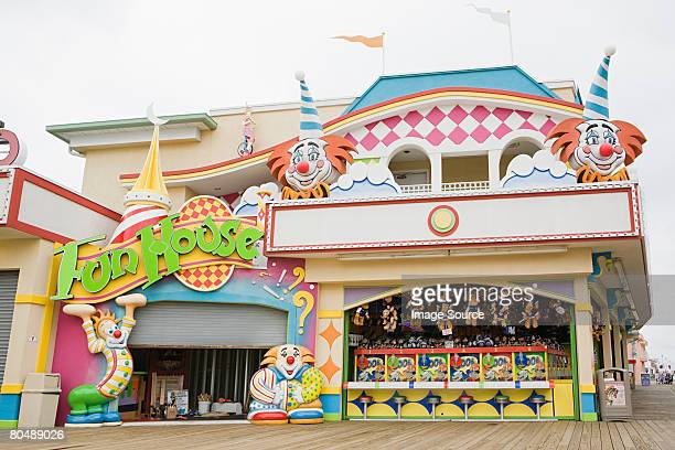 fun house - boardwalk stock pictures, royalty-free photos & images