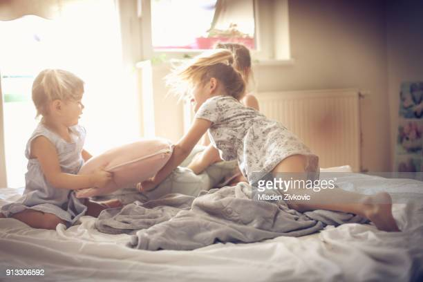 fun in morning. - girl fight stock photos and pictures