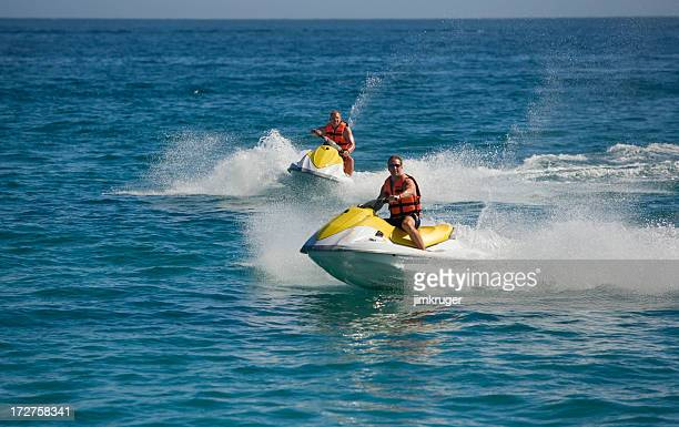Fun in the ocean on waverunners.