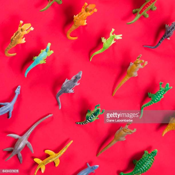 Fun Knolling Layout of Plastic Dinosaurs On
