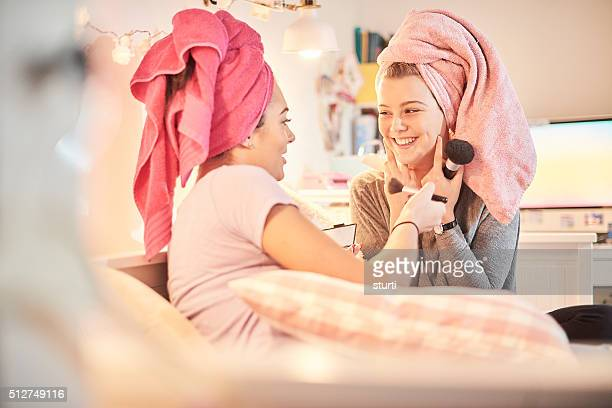fun make-up friends - night in stock photos and pictures