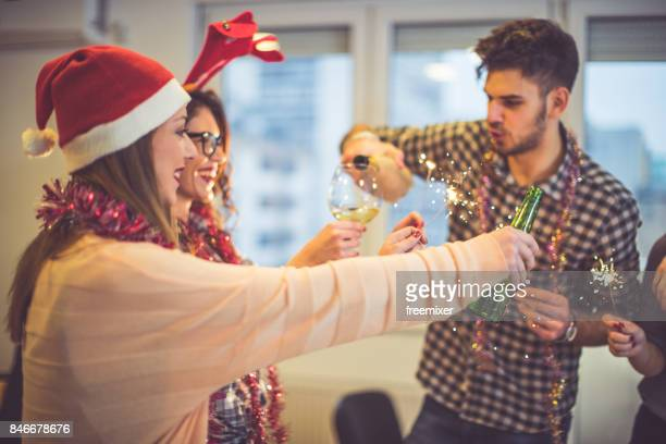 fun new year's party - christmas party stock photos and pictures