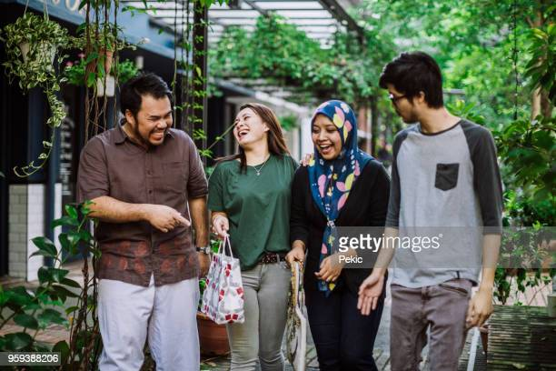 fun on double date - fat asian woman stock pictures, royalty-free photos & images