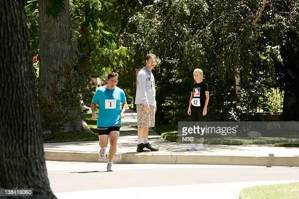 THE OFFICE Fun Run Episode 1 Aired Pictured Steve Carell as Michael Scott Rainn Wilson as Dwight Schrute and Angela Kinsey as Angela Martin