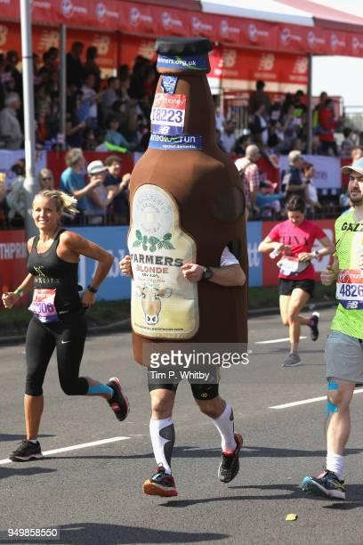 A fun runner participates in The Virgin London Marathon on April 22 2018 in London England