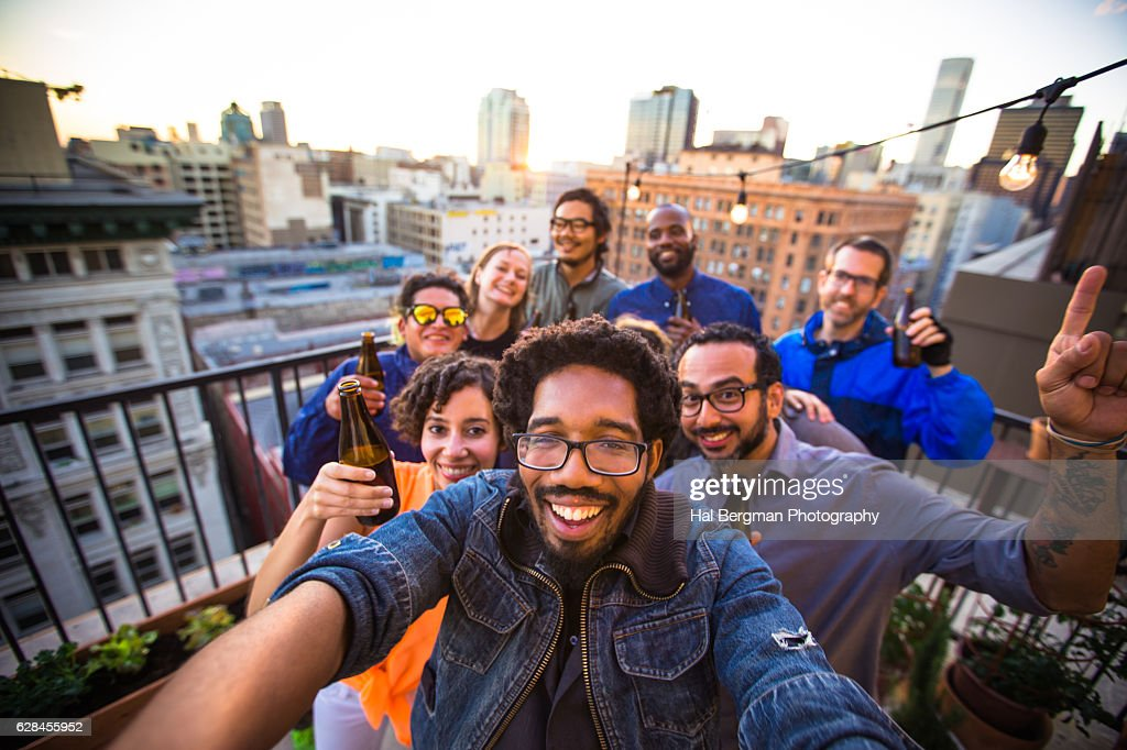 Fun Selfie at Rooftop Party : Stock Photo