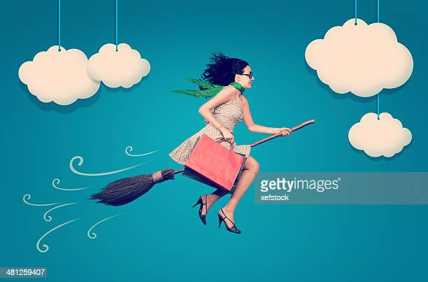 fun shopping - broom stock pictures, royalty-free photos & images