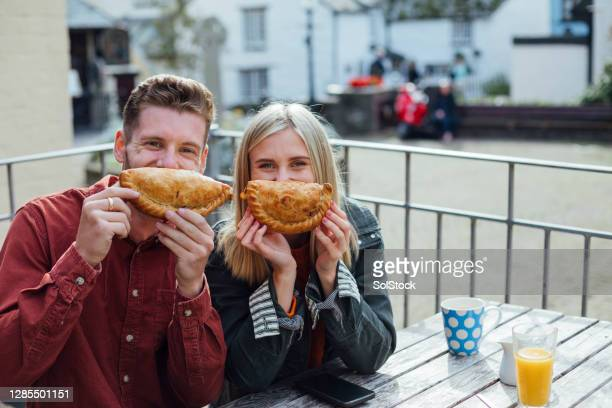 fun with food - cornish pasty stock pictures, royalty-free photos & images