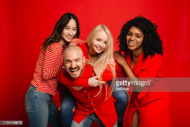 fun with friends - clothing stock pictures, royalty-free photos & images