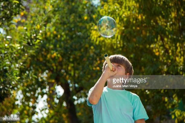 Fun with soap bubbles on green background