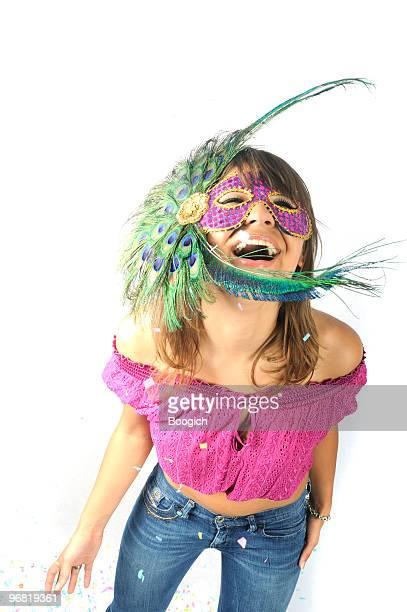 Fun Young Beautiful Woman Celebrates Mardi Gras