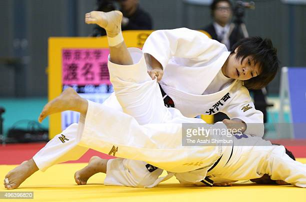 Funa Tonaki and Tamami Yamazaki compete in the Women's 48kg final during day two of the Kodokan Cup All Japan Judo Championships by Weight Category...