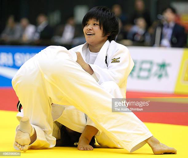 Funa Tonaki celebrates winning against Tamami Yamazaki in the Women's 48kg final during day two of the Kodokan Cup All Japan Judo Championships by...
