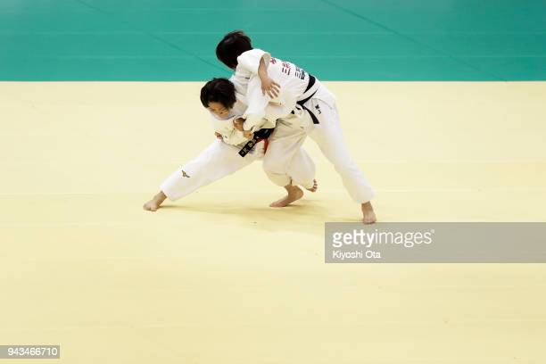 Funa Tonaki competes against Aya Sakagami in the Women's 48kg match on day two of the All Japan Judo Championships by Weight Category at Fukuoka...