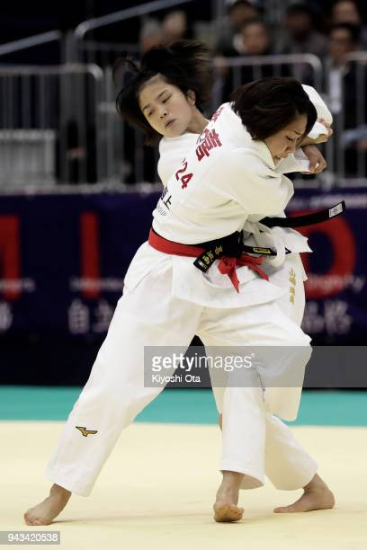 Funa Tonaki competes against Tamami Yamazaki in the Women's 48kg semifinal match on day two of the All Japan Judo Championships by Weight Category at...