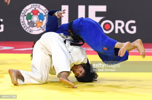 Funa Tonaki of Japan and Urantsetseg Munkhbat of Mongolia compete in the Women's 48kg final during day one of the World Judo Championships at the...