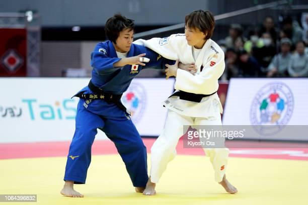 Funa Tonaki of Japan competes against Urantsetseg Munkhbat of Mongolia in the Women's 48kg final match on day one of the Grand Slam Osaka at Maruzen...