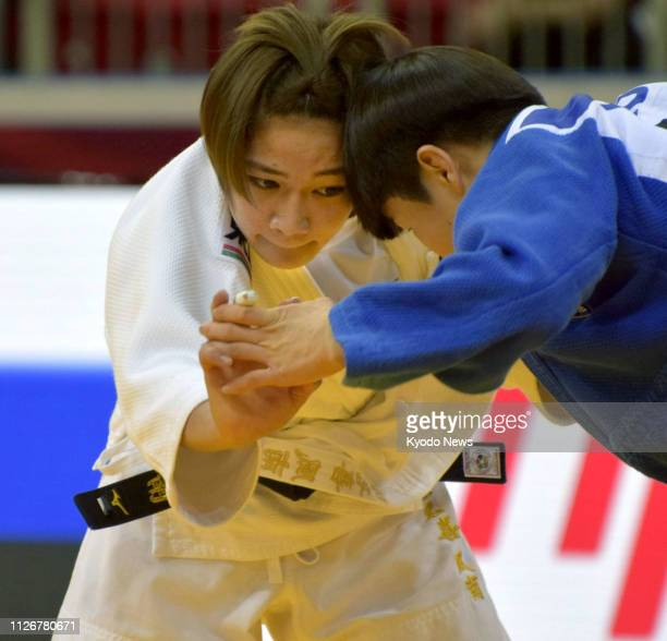 Funa Tonaki of Japan competes en route to winning the women's 48kilogram final against Kang Yu Jeong of South Korea at a Grand Slam judo event in...