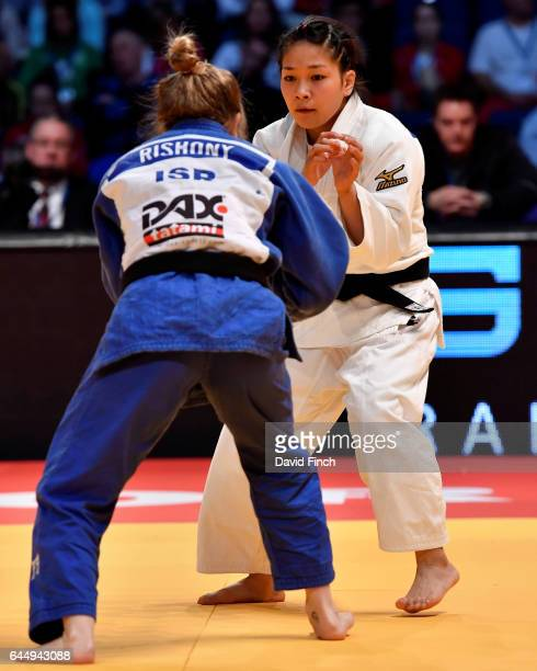 Funa Tonaki of Japan defeated Shira Rishony of Israel with a hold for ippon on her way to the u48kg final during the 2017 Dusseldorf Grand Prix at...