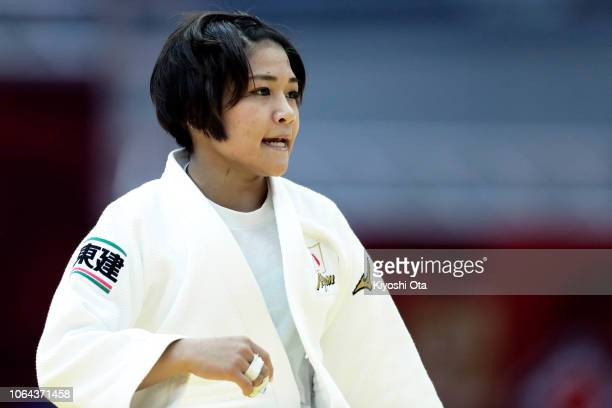 Funa Tonaki of Japan in action in the Women's 48kg semifinal match against Hiromi Endo of Japan on day one of the Grand Slam Osaka at Maruzen Intec...