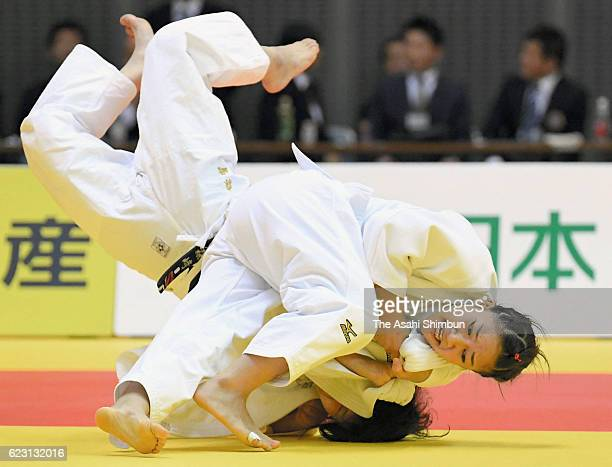 Funa Tonaki throws Yurie Morizaki in the Women's 48kg final during day two of the Kodokan Cup All Japan Judo Championships by Weight Category at...