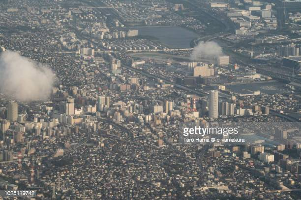 funabashi and narashino cities in chiba prefecture in japan sunset time aerial view from airplane - chiba city fotografías e imágenes de stock
