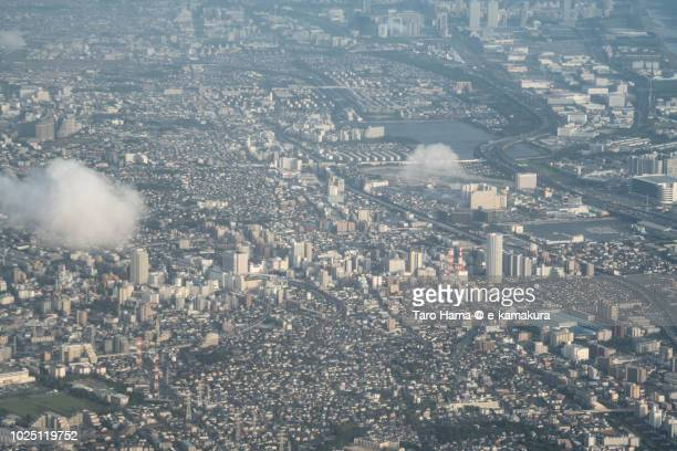 funabashi, chiba and narashino cities in chiba prefecture in japan sunset time aerial view from airplane - 千葉市 ストックフォトと画像