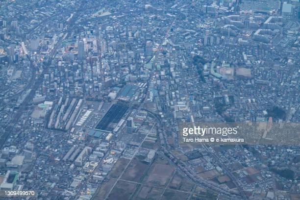 funabashi city in chiba prefecture of japan aerial view from airplane - chiba city fotografías e imágenes de stock