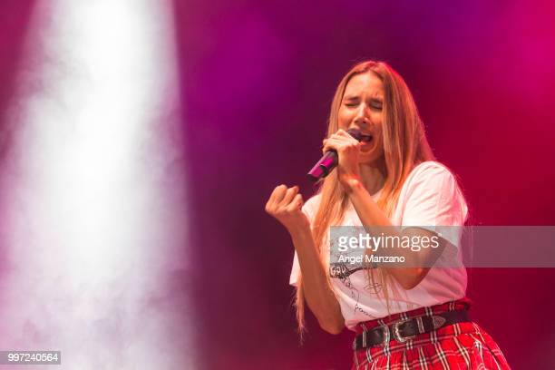 Funambulista and India Martinez perform in concert at Noches del Bótanico Festival on July 12 2018 in Madrid Spain