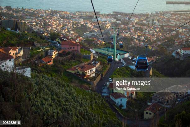 funchal cable car, madeira, portugal - funchal stock pictures, royalty-free photos & images
